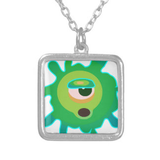 Green virus silver plated necklace