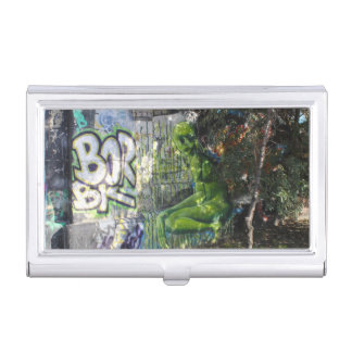 Green Visitor From Outer Space Graffiti Business Card Case