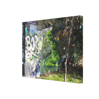Green Visitor From Outer Space Graffiti Canvas Print