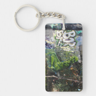 Green Visitor From Outer Space Graffiti Double-Sided Rectangular Acrylic Keychain
