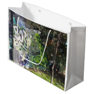 Green Visitor From Outer Space Graffiti Large Gift Bag