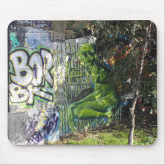 Green Visitor From Outer Space Graffiti Mouse Pad