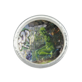 Green Visitor From Outer Space Graffiti Photo Rings
