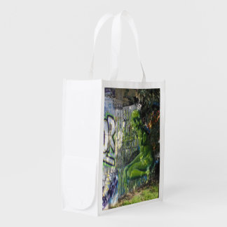 Green Visitor From Outer Space Graffiti Reusable Grocery Bag