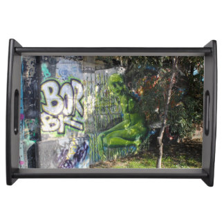 Green Visitor From Outer Space Graffiti Serving Tray