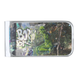 Green Visitor From Outer Space Graffiti Silver Finish Money Clip