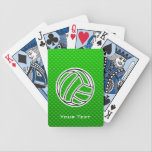 "Green Volleyball Bicycle Playing Cards<br><div class=""desc"">You will love this sleek green volleyball team sport ball girl sports design. Great for gifts! Available on tee shirts, smart phone cases, mousepads, keychains, posters, cards, electronic covers, computer laptop / notebook sleeves, caps, mugs, and more! Visit our site for a custom gift case for Samsung Galaxy S3, iphone...</div>"