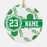 Green Volleyball | DIY Name and Number Double-Sided Ceramic Round Christmas Ornament