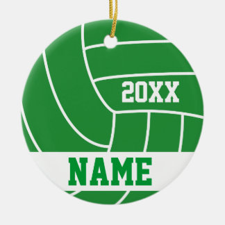 Green Volleyball | DIY Name and Year Ceramic Ornament