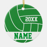 Green Volleyball | DIY Name and Year Double-Sided Ceramic Round Christmas Ornament