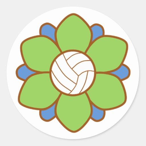 Green Volleyball Girl Round Stickers