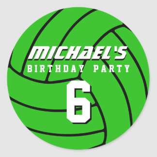 Green Volleyball Sticker Sports Birthday Party
