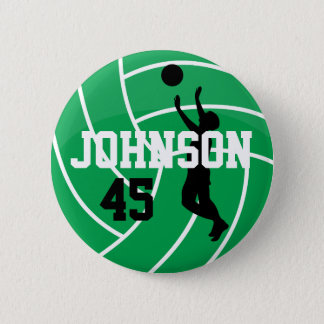Green Volleyball with Silhouette Player Pinback Button