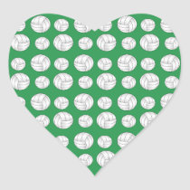 Green volleyballs pattern heart sticker