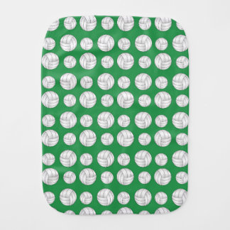 Green volleyballs pattern baby burp cloth