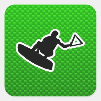 Green Wakeboarder Square Sticker