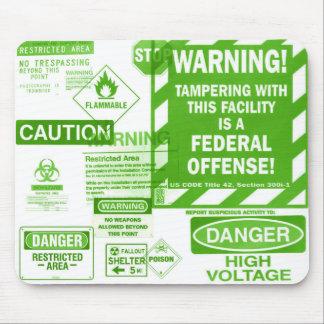 Green Warning Sign Mousepad