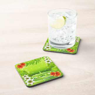 Green Water Bamboo and Tropical Flowers Coaster