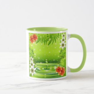 Green Water Bamboo and Tropical Flowers Mug