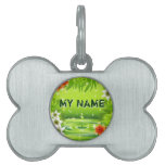 Green Water Bamboo and Tropical Flowers Pet Tag