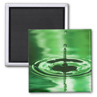 Green Water Droplet 2 Inch Square Magnet