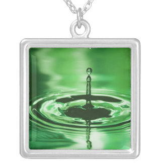Green Water Droplet Square Pendant Necklace