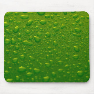 Green water drops mouse pad