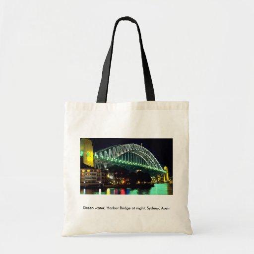 Green water, Harbor Bridge at night, Sydney, Austr Budget Tote Bag