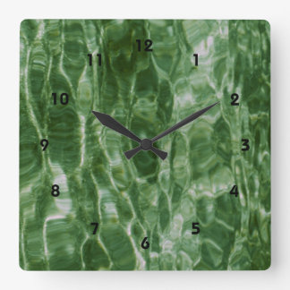 Green Water Square Wall Clock