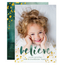 Green Watercolor and Gold Believe | Photo Card