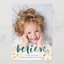 Green Watercolor and Gold Believe | Photo Holiday Card