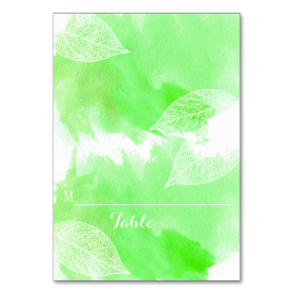 Green watercolor and leaves wedding place card