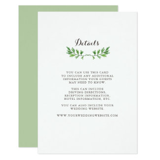 Green Watercolor Botanical Leaves Guest Details Card