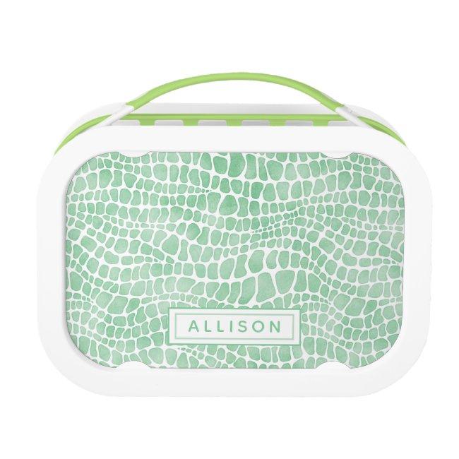 Green Watercolor Crocodile Skin - Personalized
