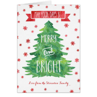 Green Watercolor Custom Merry & Bright Christmas Card
