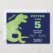 Green Watercolor Dinosaur Birthday Invitation