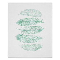 Green Watercolor Feather Tribal Print Poster