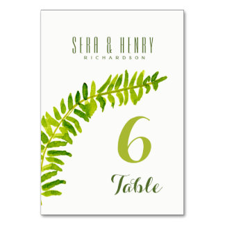 GREEN WATERCOLOR FERN FOLIAGE TABLE CARD