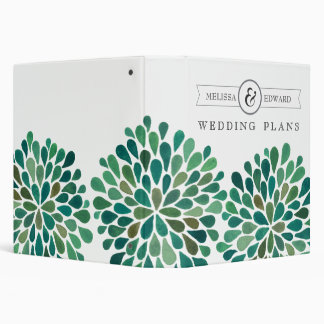 Green Watercolor Floral Wedding Planner Binder