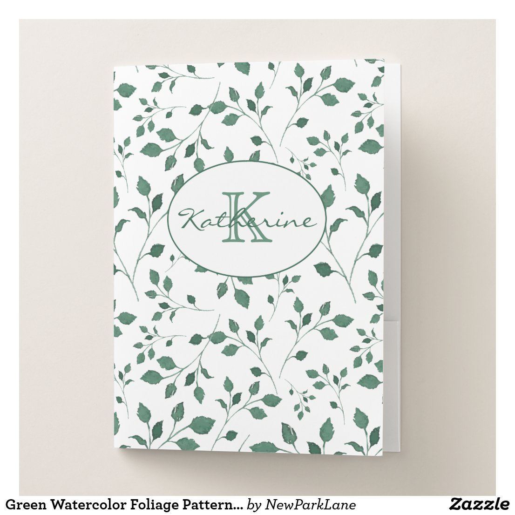 Green Watercolor Foliage Pattern Personalized Pocket Folder