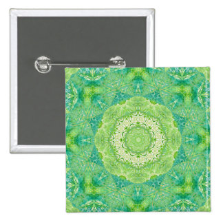 Green Watercolor Fractal Mandala Pinback Buttons