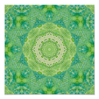 Green Watercolor Fractal Mandala Poster
