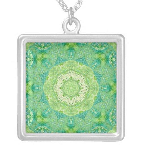 Green Watercolor Fractal Mandala Square Pendant Necklace