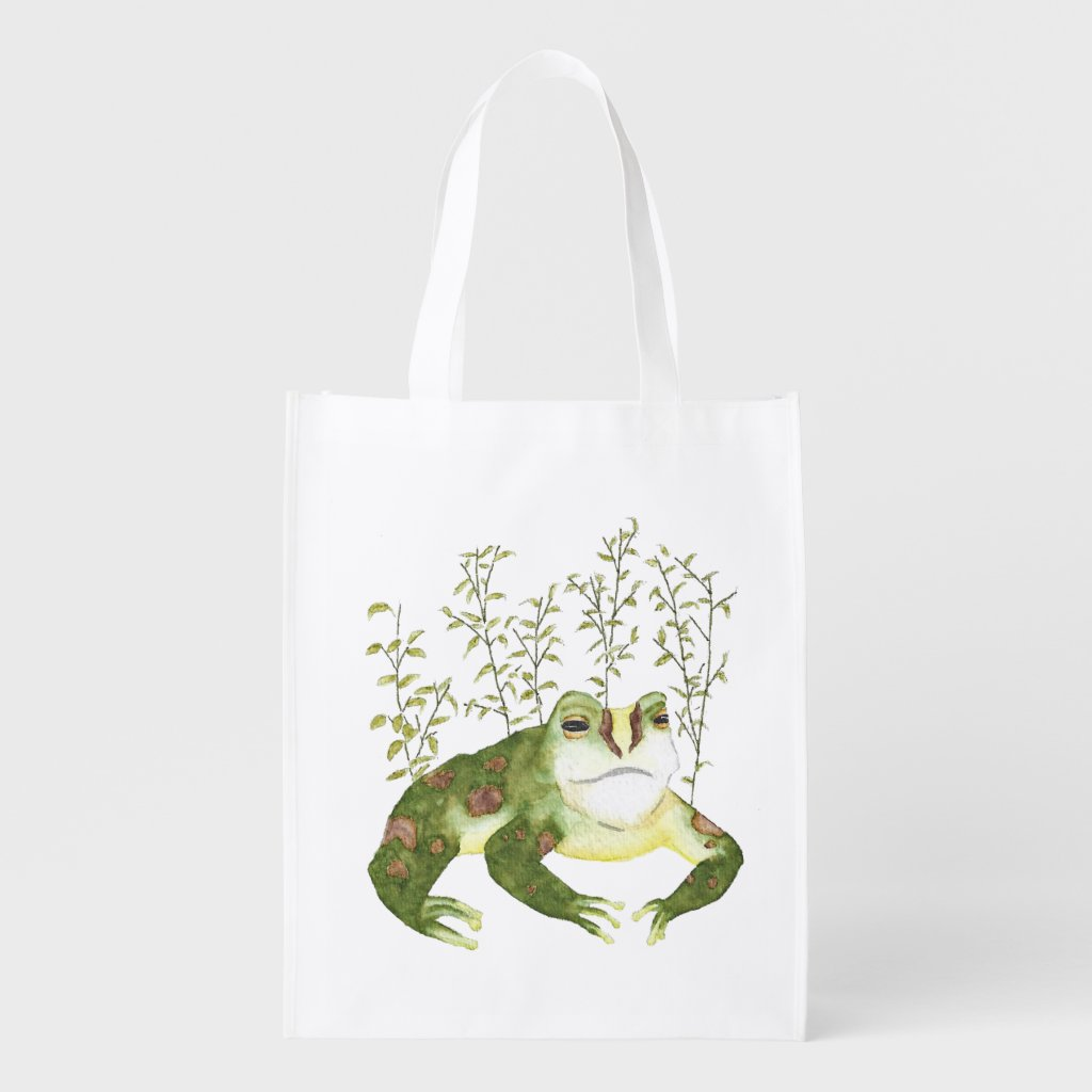 Green Watercolor Frog with Leaves Grocery Bag