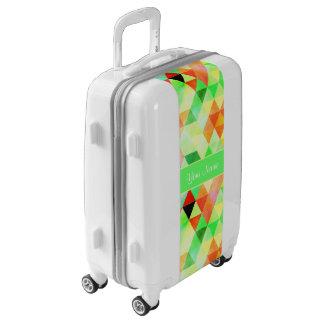 Green Watercolor Geometric Triangles Luggage