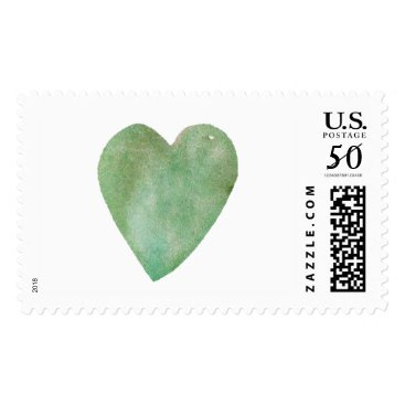 Valentines Themed Green Watercolor Heart Postage
