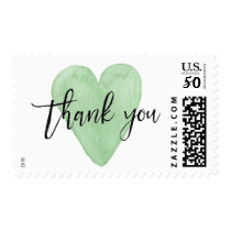 Green Watercolor Heart Thank You Postage