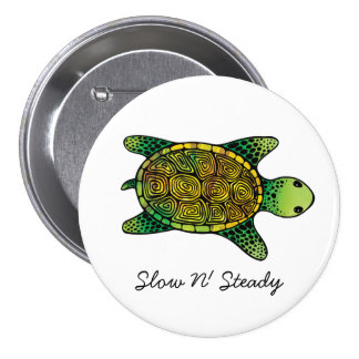 Green Watercolor Ink Drawn Turtle Pinback Button