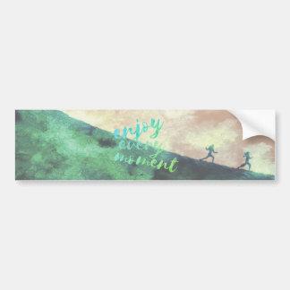 Green Watercolor Jogging Running Inspirational Bumper Sticker