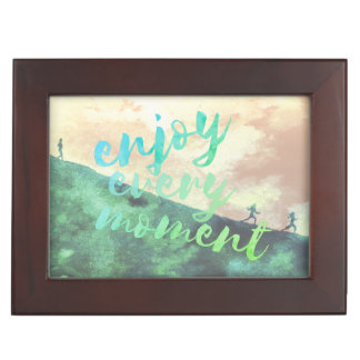 Green Watercolor Jogging Running Typography Keepsake Box